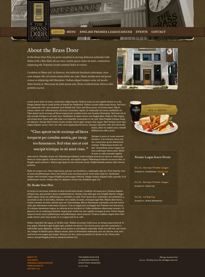 Brass Door content page