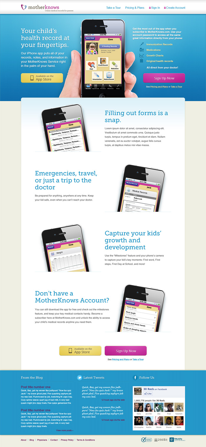 MotherKnows iPhone app page